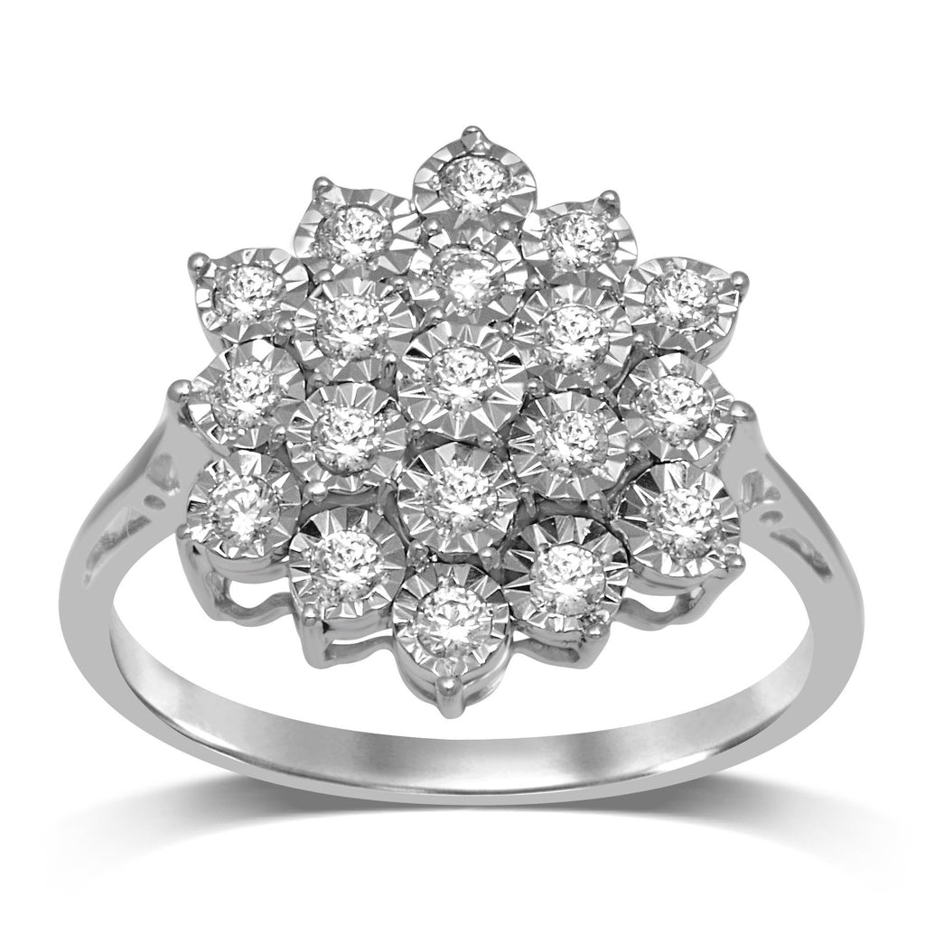 Brilliant Miracle Cluster Ring with 1/2ct of Diamonds in Sterling Silver