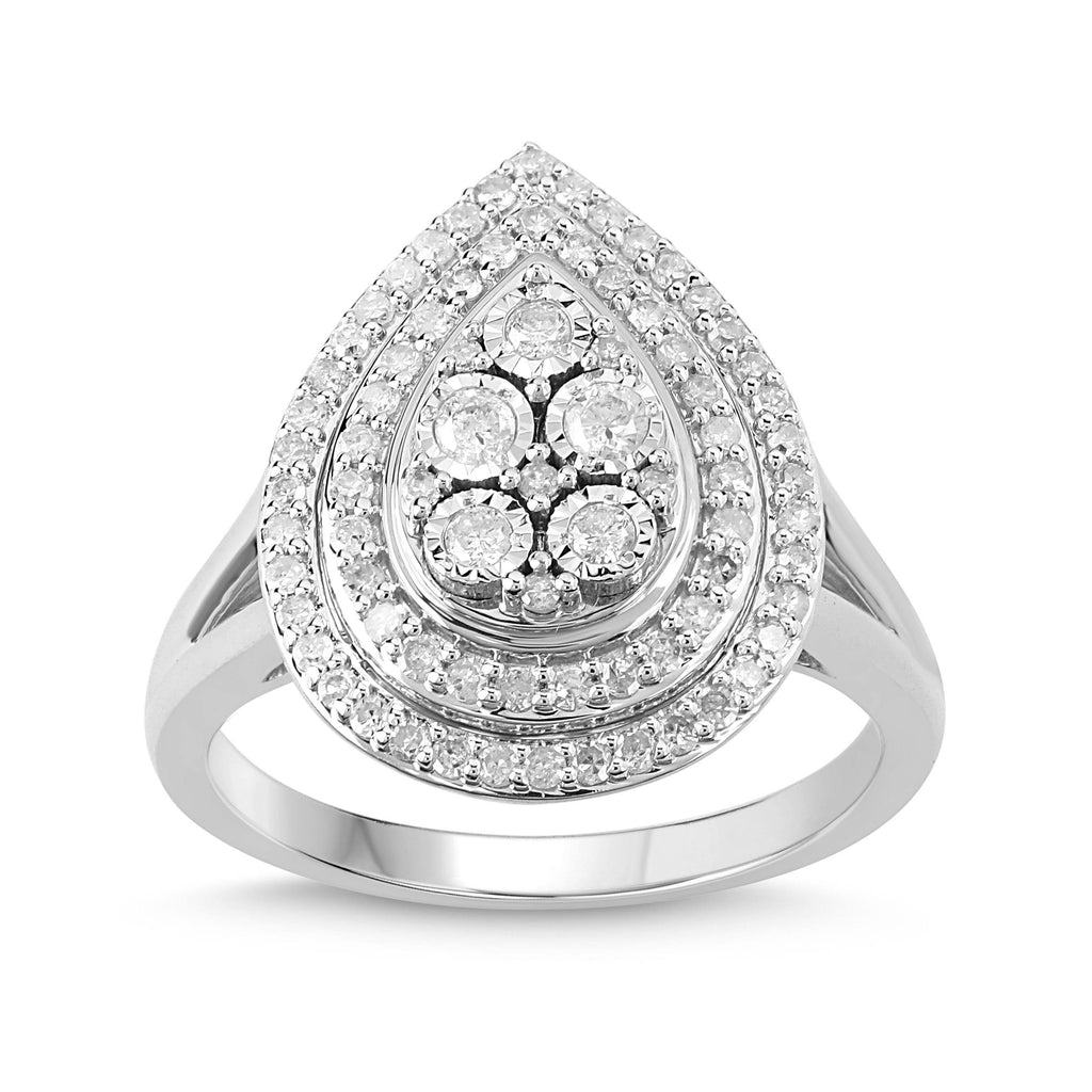 Miracle Halo Pear Ring with 1/2ct of Diamonds in Sterling Silver Rings Bevilles