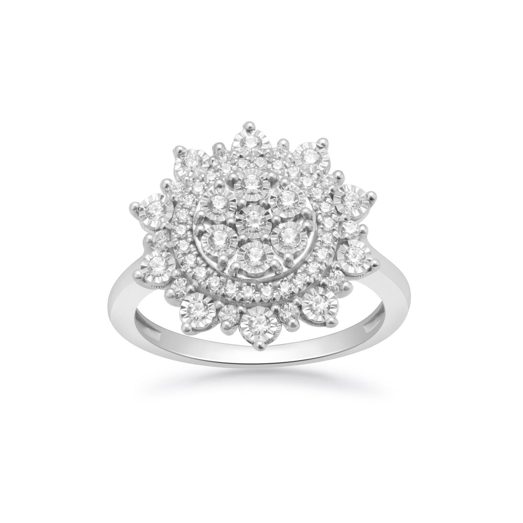 Miracle Halo Fancy Ring with 1/2ct of Diamonds in Sterling Silver Rings Bevilles