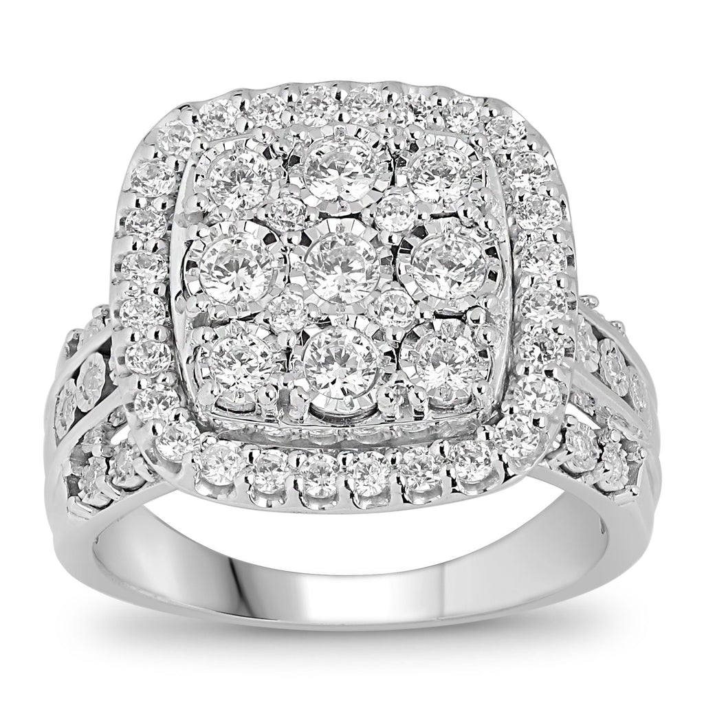 Brilliant Square Halo Ring with 1.00ct of Diamonds in Sterling Silver Rings Bevilles