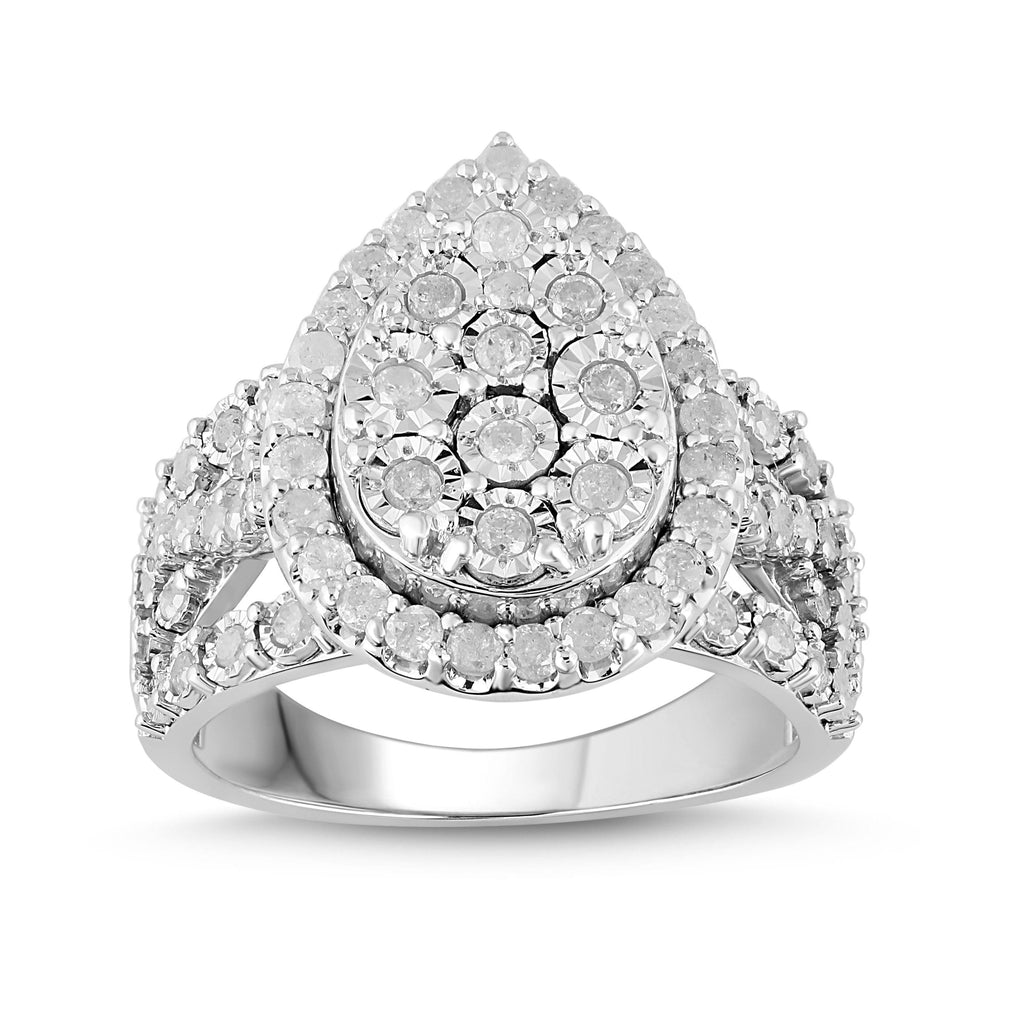 Brilliant Miracle Pear Ring with 1.00ct of Diamonds in Sterling Silver