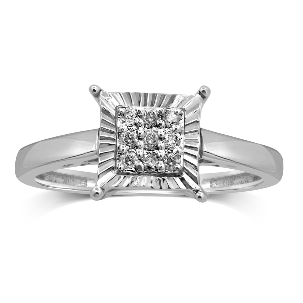 Sterling Silver Brilliant Claw with Miracle Halo Square Look Ring with 0.10ct of Diamonds Rings Bevilles