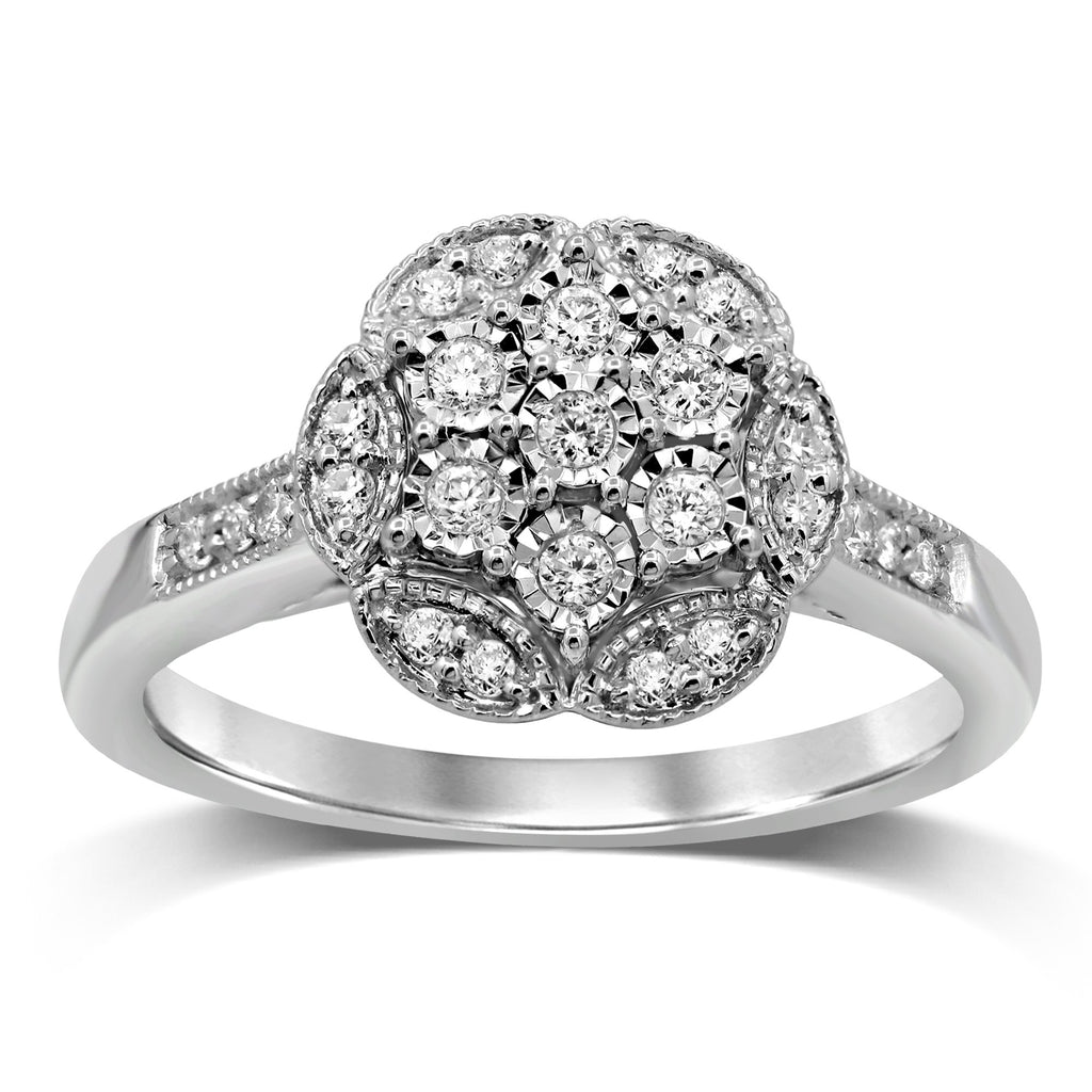 Sterling Silver Brilliant Claw Star Shape Ring with 1/4ct of Diamonds Rings Bevilles