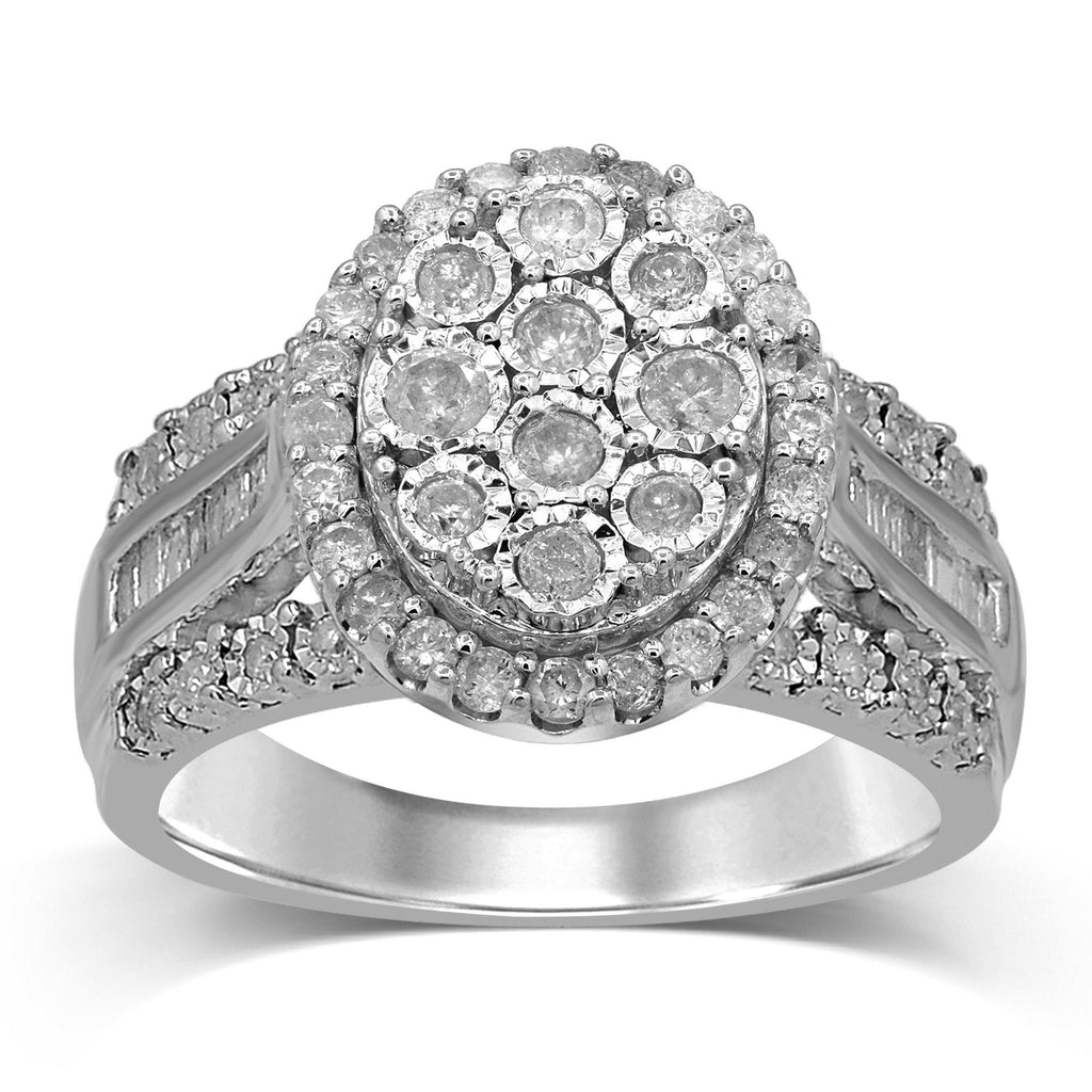 Brilliant Illusion Halo Ring with 1.00ct of Diamonds in Sterling Silver Rings Bevilles