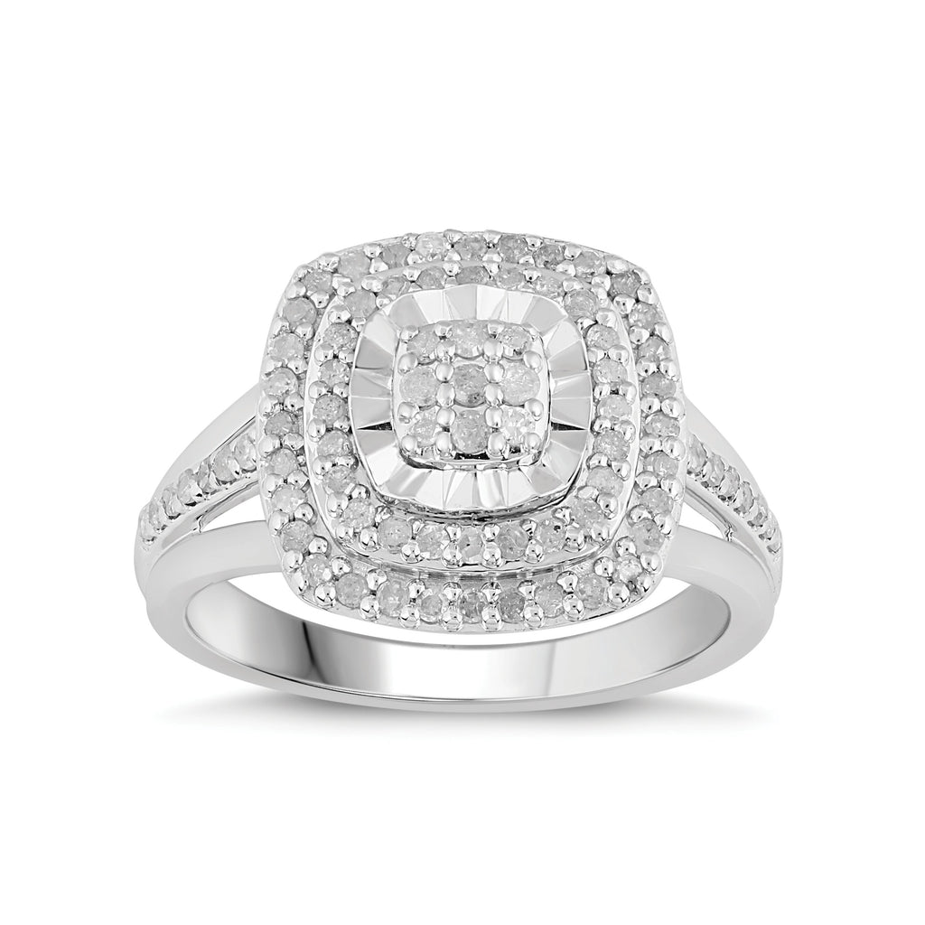 Brilliant Halo Ring with 1/2ct of Diamonds in Sterling Silver Rings Bevilles