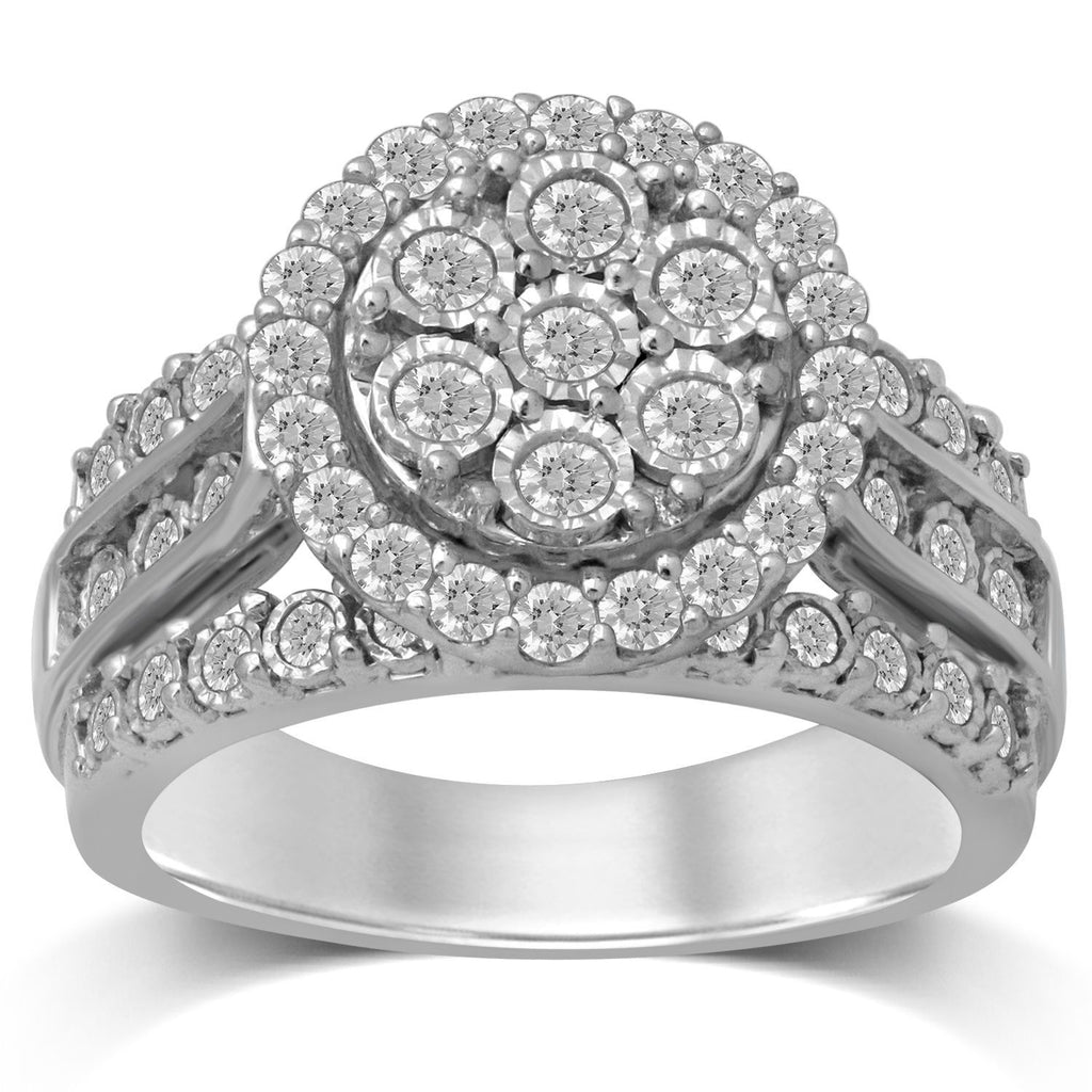 Brilliant Miracle Channel Shoulder Ring with 1.00ct of Diamonds in Sterling Silver Rings Bevilles