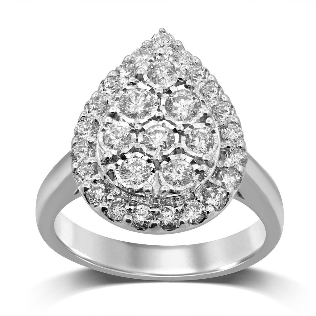 Brilliant Miracle Halo Pear Ring with 1.00ct of Diamonds in Sterling Silver Rings Bevilles