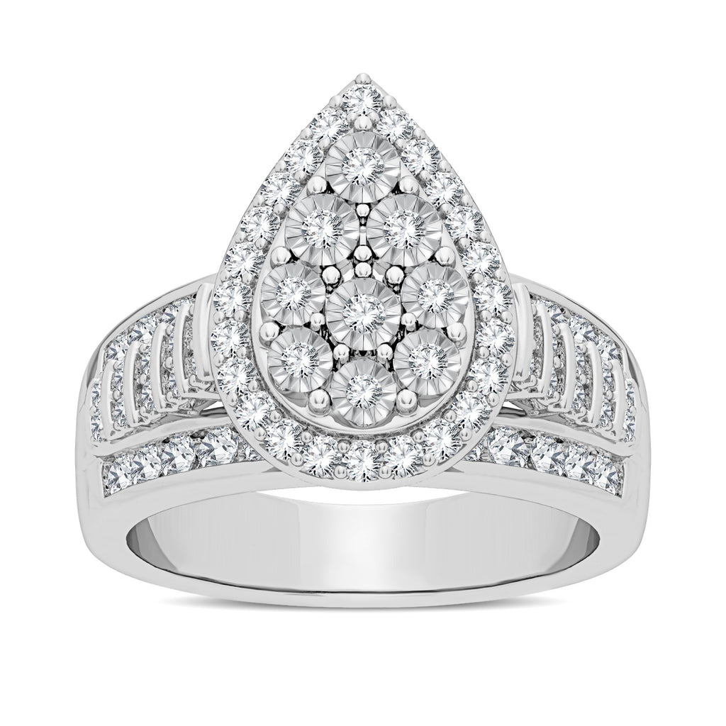 Pear Halo Ring with 1.00ct of Diamonds in Sterling Silver Rings Bevilles