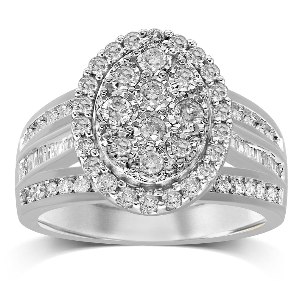 Oval Halo Ring with 1.00ct of Diamonds in Sterling Silver Rings Bevilles