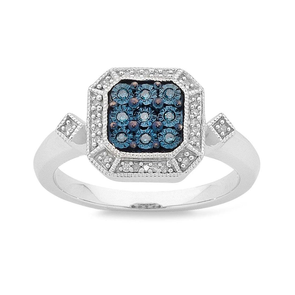 Sterling Silver Blue Diamond Ring