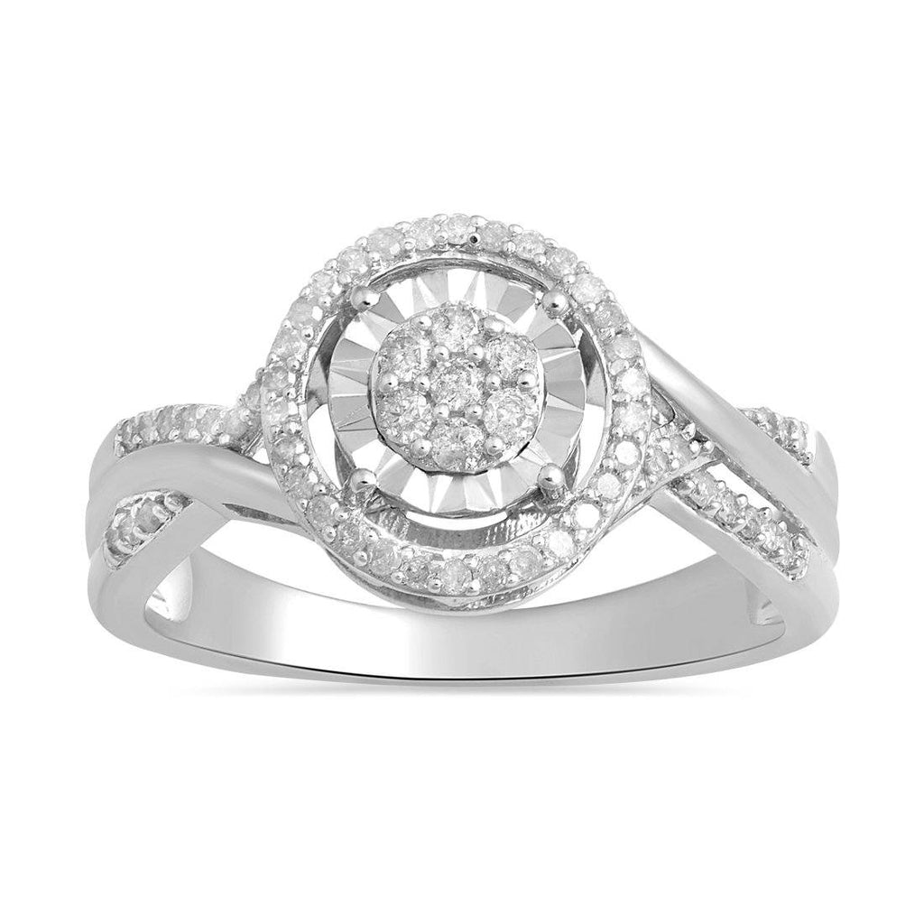 Sterling Silver 0.25ct Diamond Brilliant Illusion Miracle Halo Ring Rings Bevilles