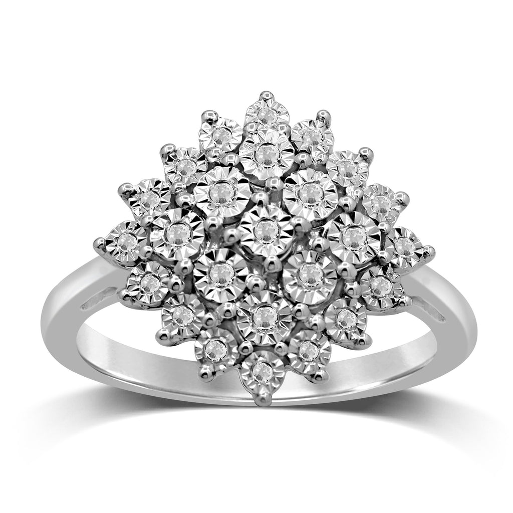 Sterling Silver 0.05ct Diamond Brilliant Miracle Cluster Ring Rings Bevilles