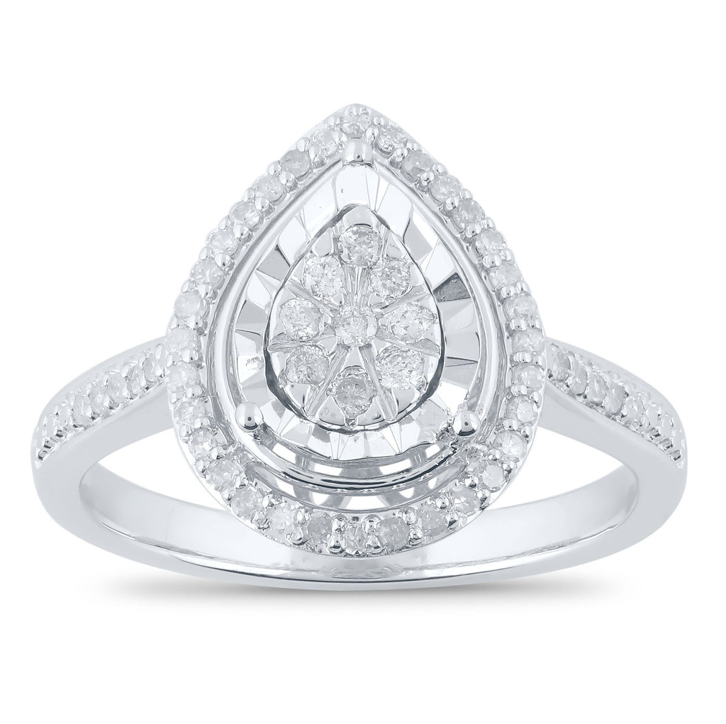 Miracle Halo Pear Ring with 1/4ct of Diamonds in Sterling Silver Rings Bevilles