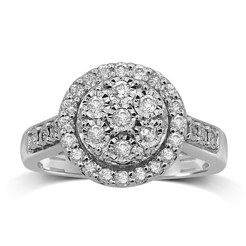 Brilliant Miracle Halo Ring with 1/2ct of Diamonds in Sterling Silver Rings Bevilles
