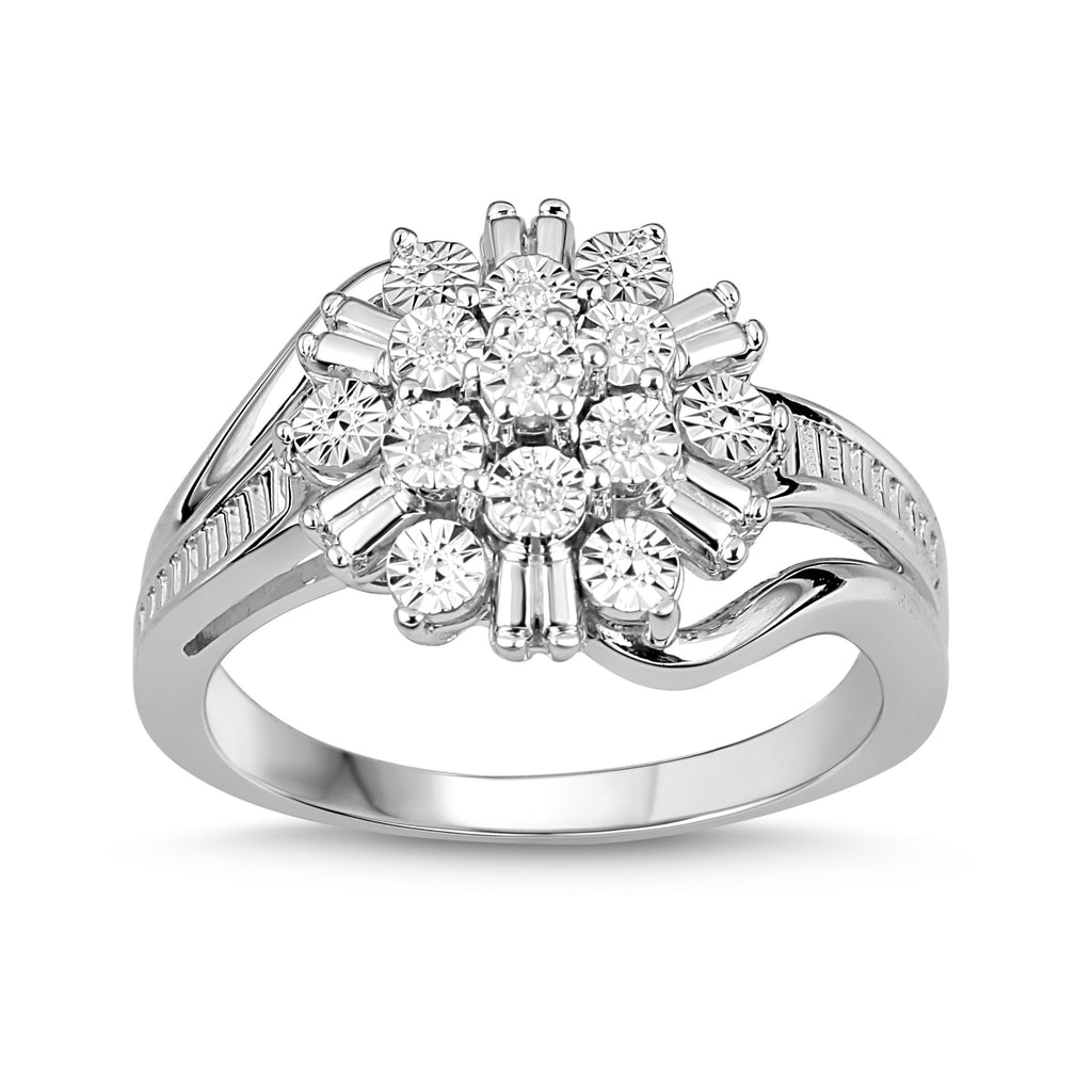Brilliant Baguette Look Diamond Cluster Ring in Sterling Silver Rings Bevilles