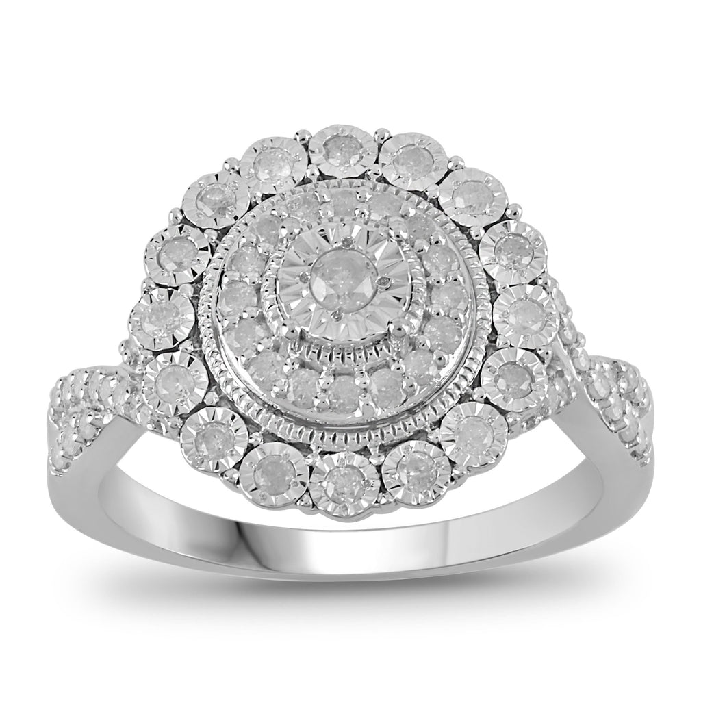 Brilliant Miracle Halo Ring with 1/3ct of Diamonds in Sterling Silver