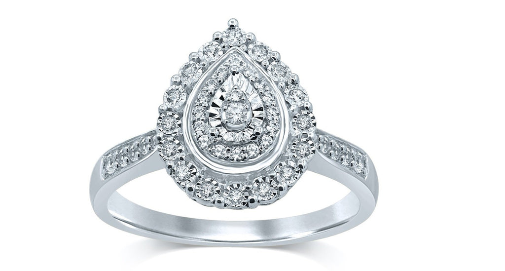 Brilliant Miracle Pear Halo Ring with 1/5ct of Diamonds in Sterling Silver Rings Bevilles