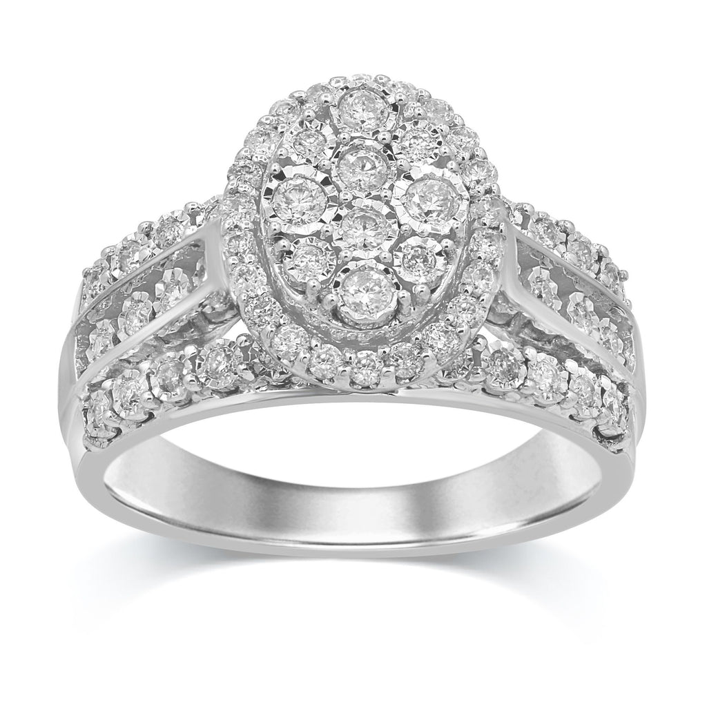 Brilliant Illusion Oval Miracle Halo Ring with 0.50ct of Diamonds in Sterling Silver Rings Bevilles