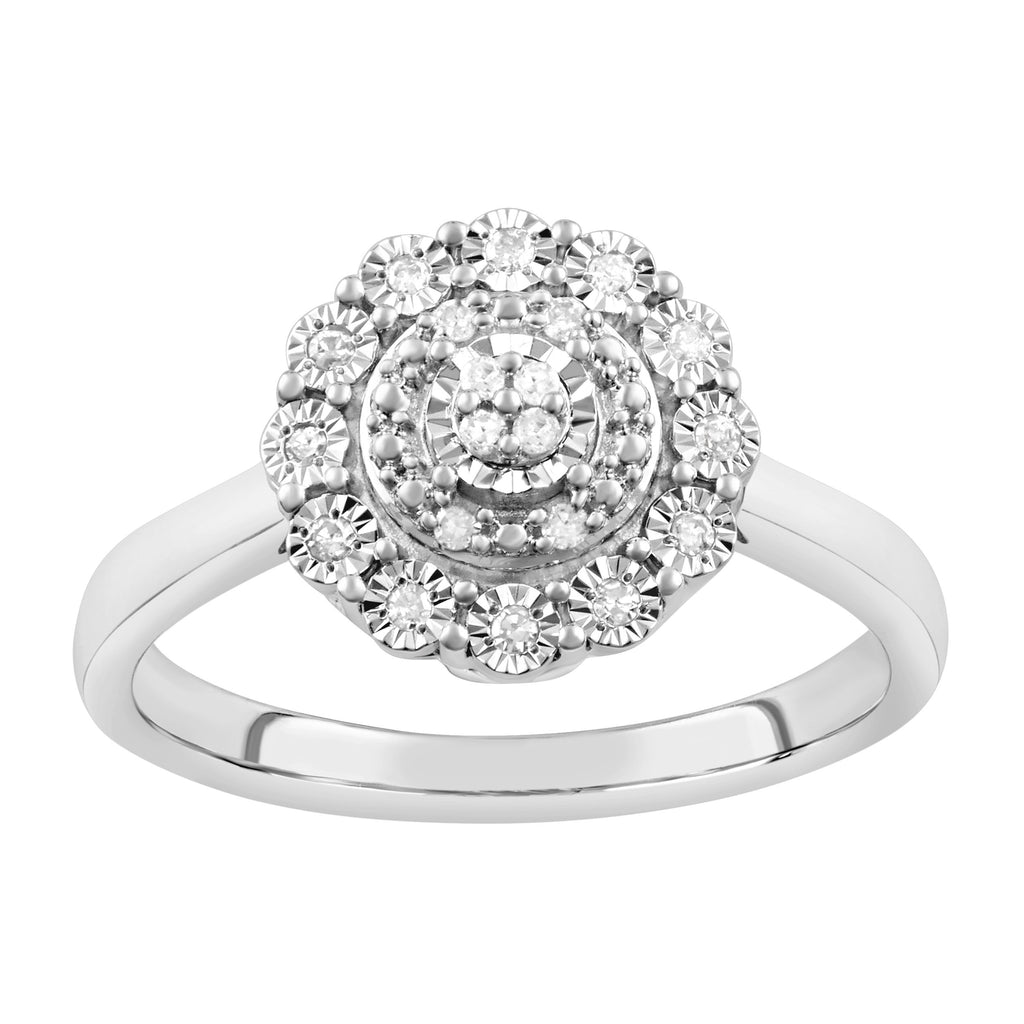 Miracle Surround Ring with 0.10ct of Diamonds in Sterling Silver Rings Bevilles
