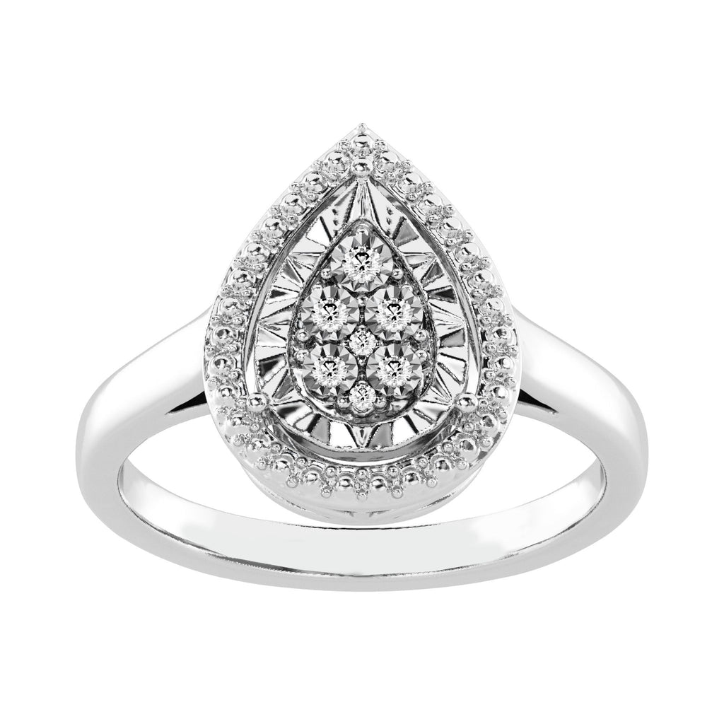 Diamond Set Miracle Halo Pear Ring in Sterling Silver Rings Bevilles