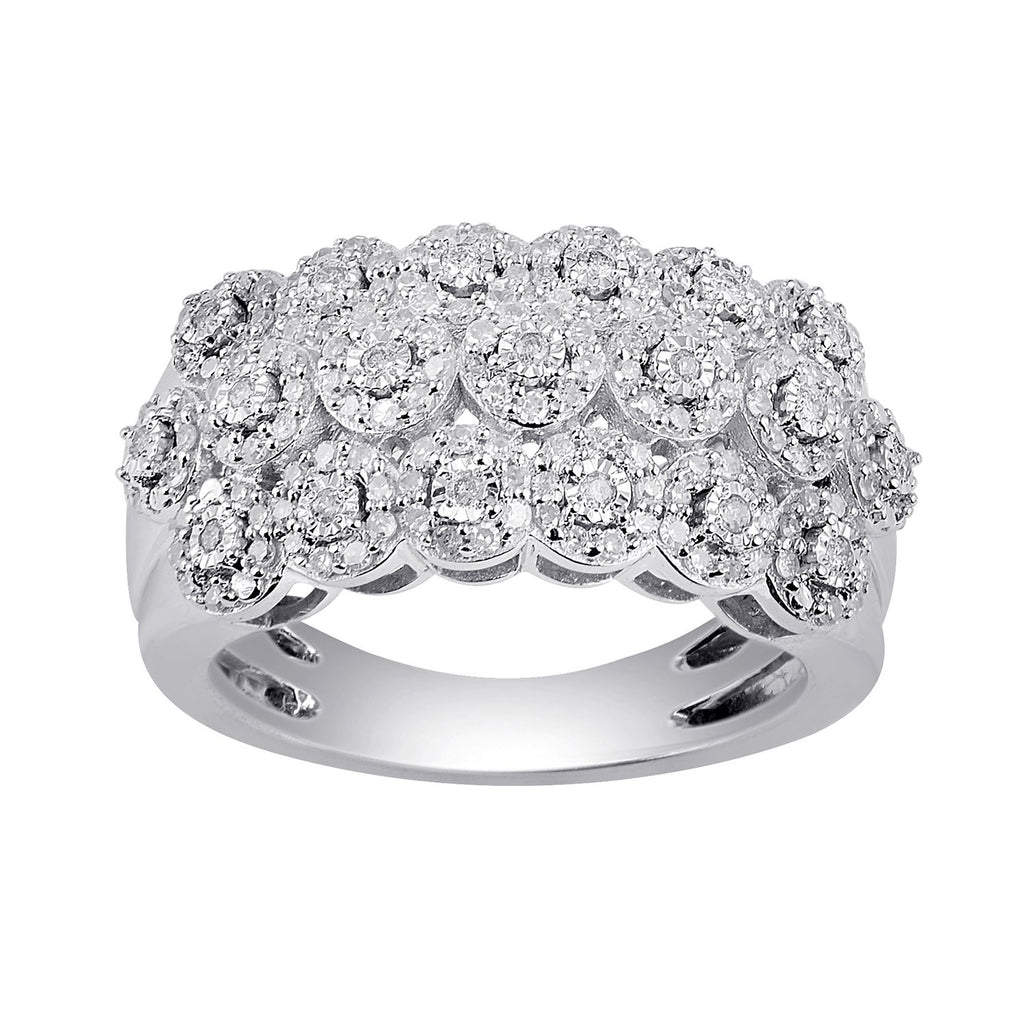Brilliant Miracle Halo Dress Ring with 1/2ct of Diamonds in Sterling Silver Rings Bevilles