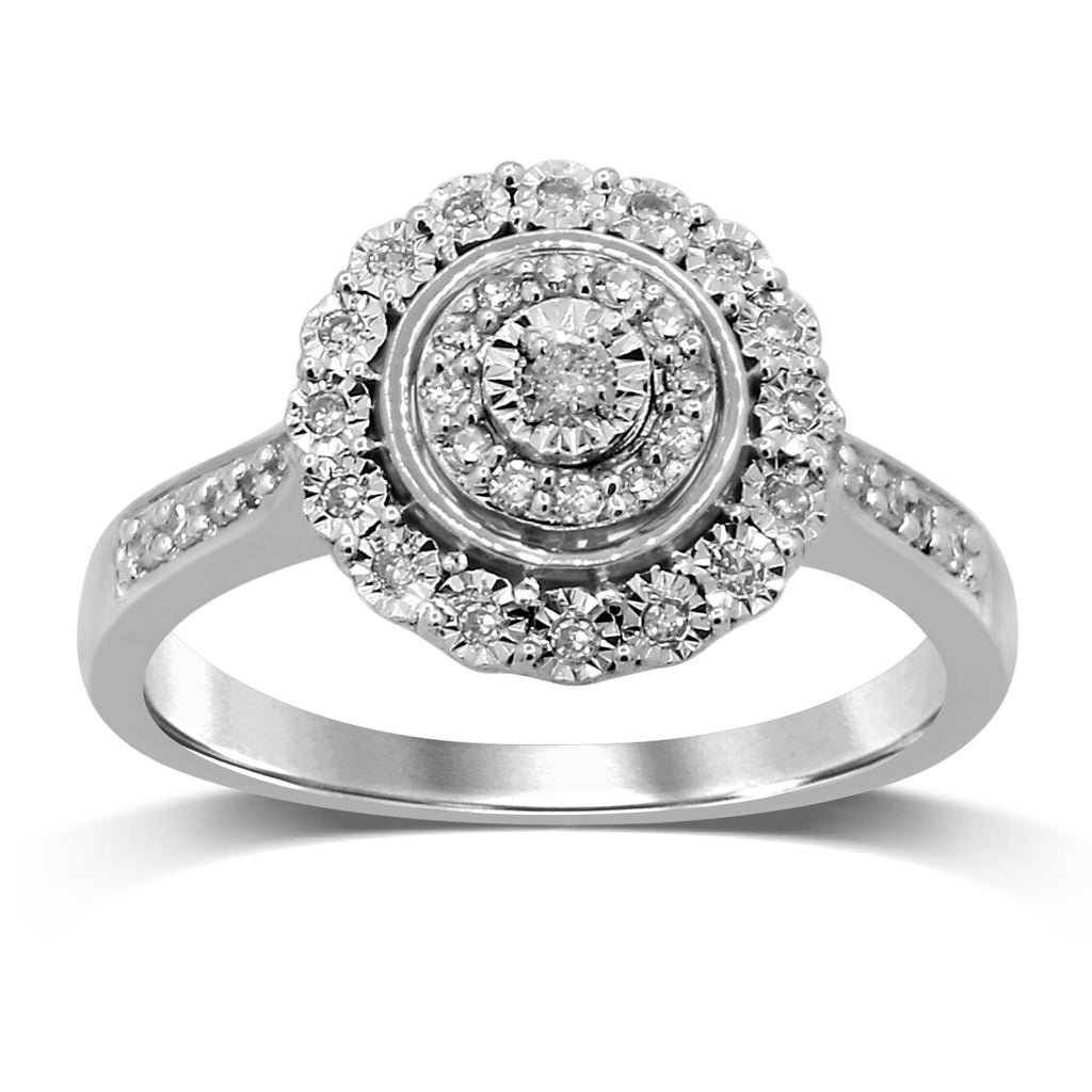 Brilliant Miracle Double Halo Ring with 1/5ct of Diamonds in Sterling Silver Rings Bevilles