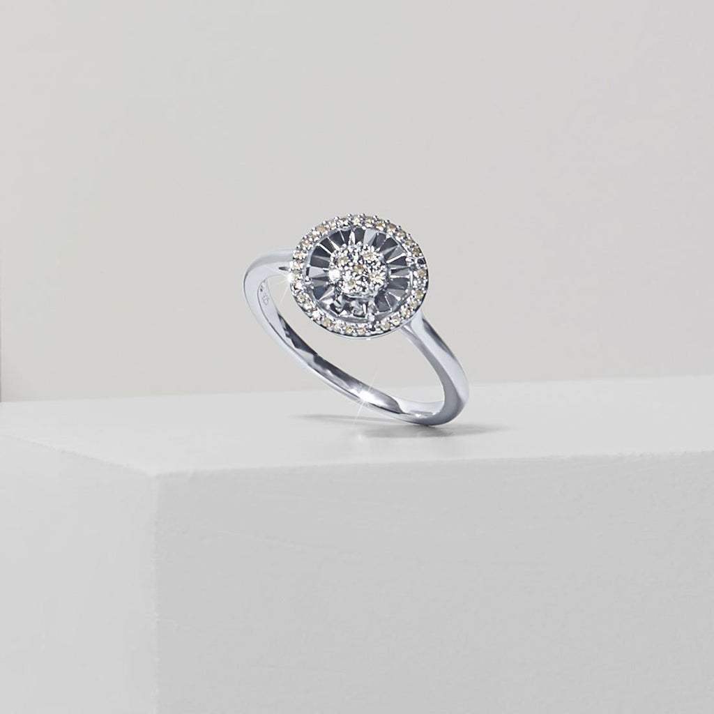 Miracle Halo Ring with 0.10ct of Diamonds in Sterling Silver Rings Bevilles
