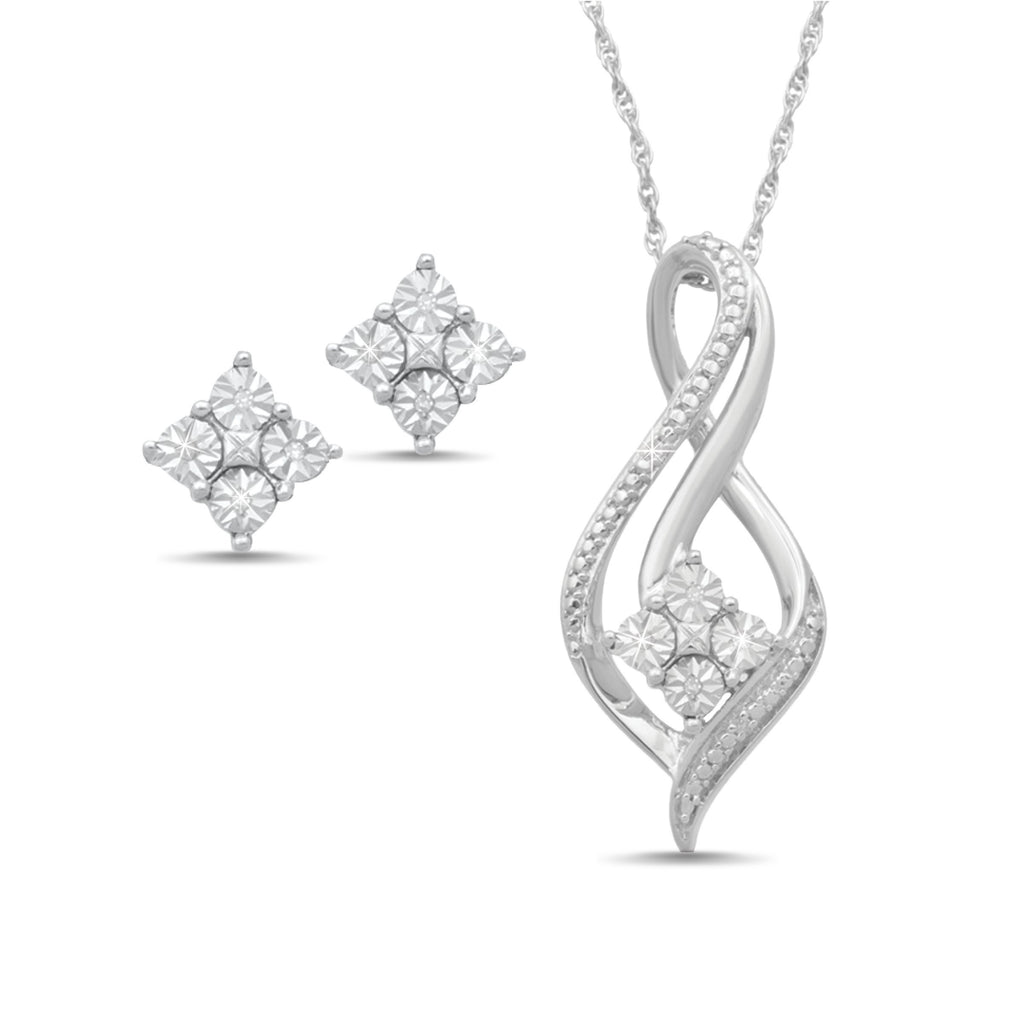Brilliant Illusion Diamond Necklace and Earrings Gift Set Earrings Bevilles