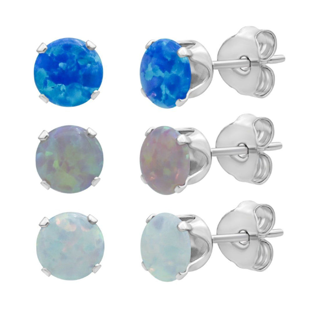 Three Earrings Set with Created Blue, Pink & White Opals in Sterling Silver Jewellery Sets Bevilles