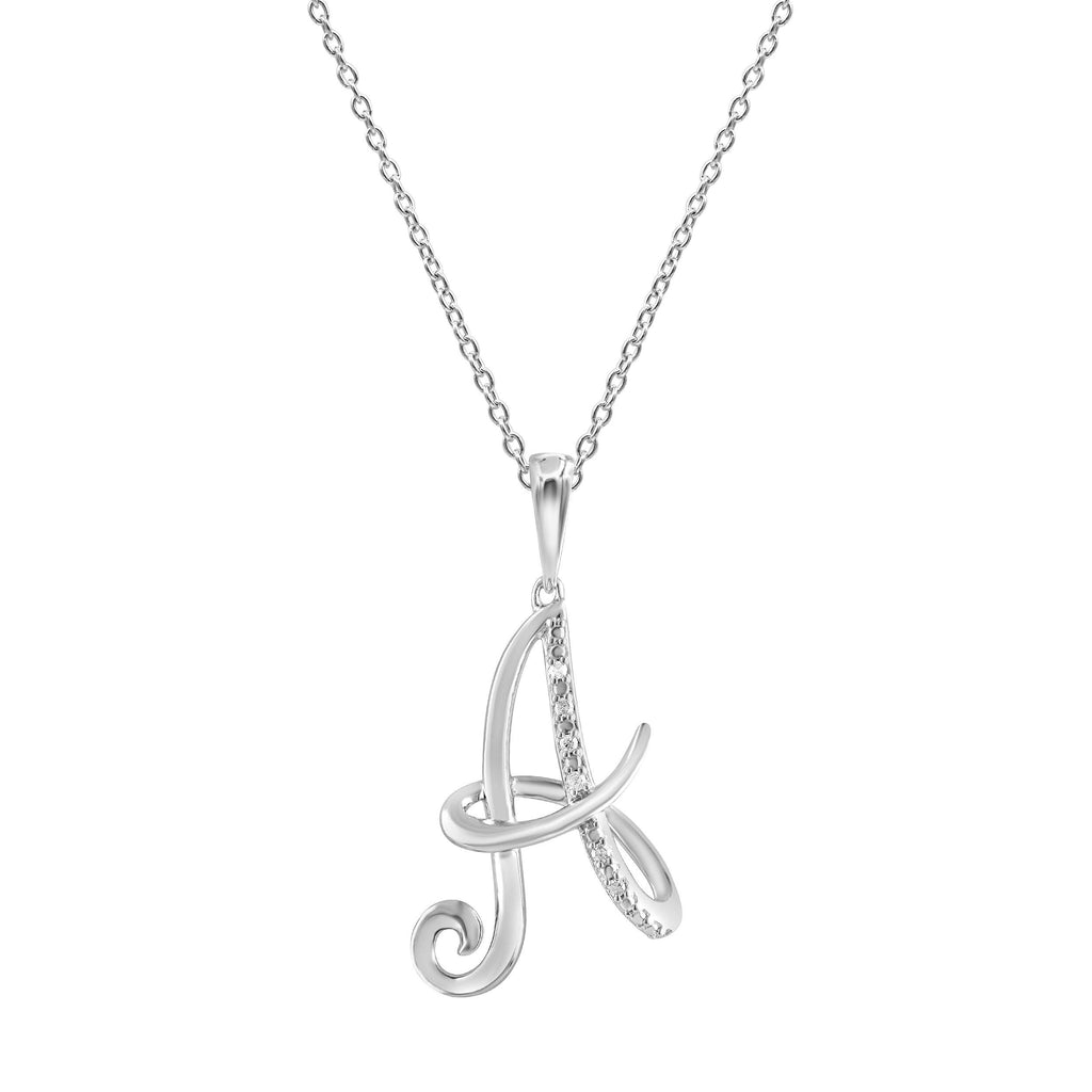 Sterling Silver Diamond Initial Necklace Necklaces Bevilles A