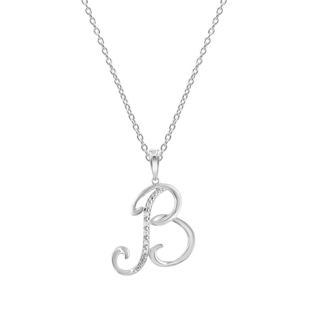 Sterling Silver Diamond Initial Necklace Necklaces Bevilles B