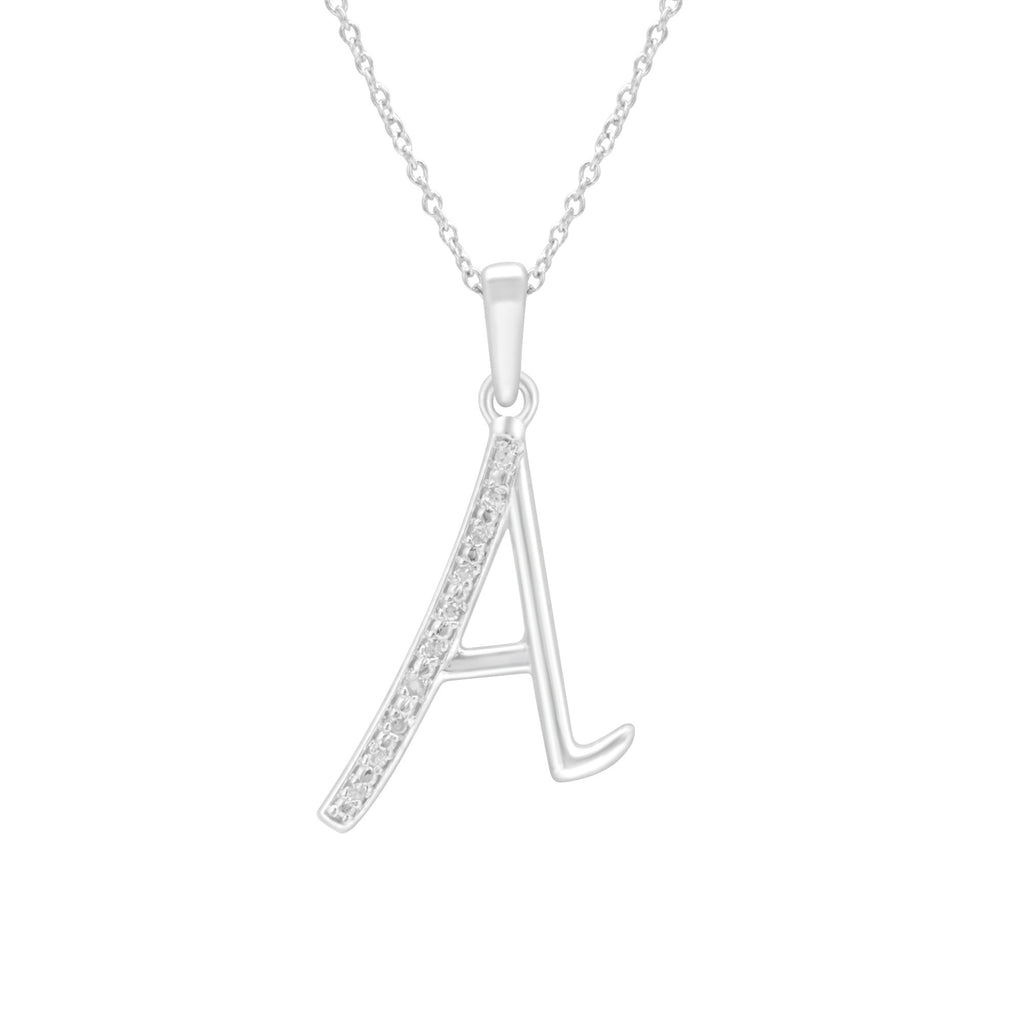 Sterling Silver Diamond Set Initial Necklace Necklaces Bevilles