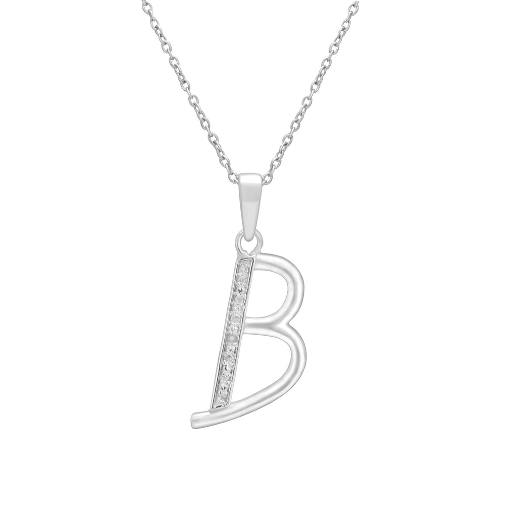 Sterling Silver Diamond Set Initial Necklace Necklaces Bevilles B