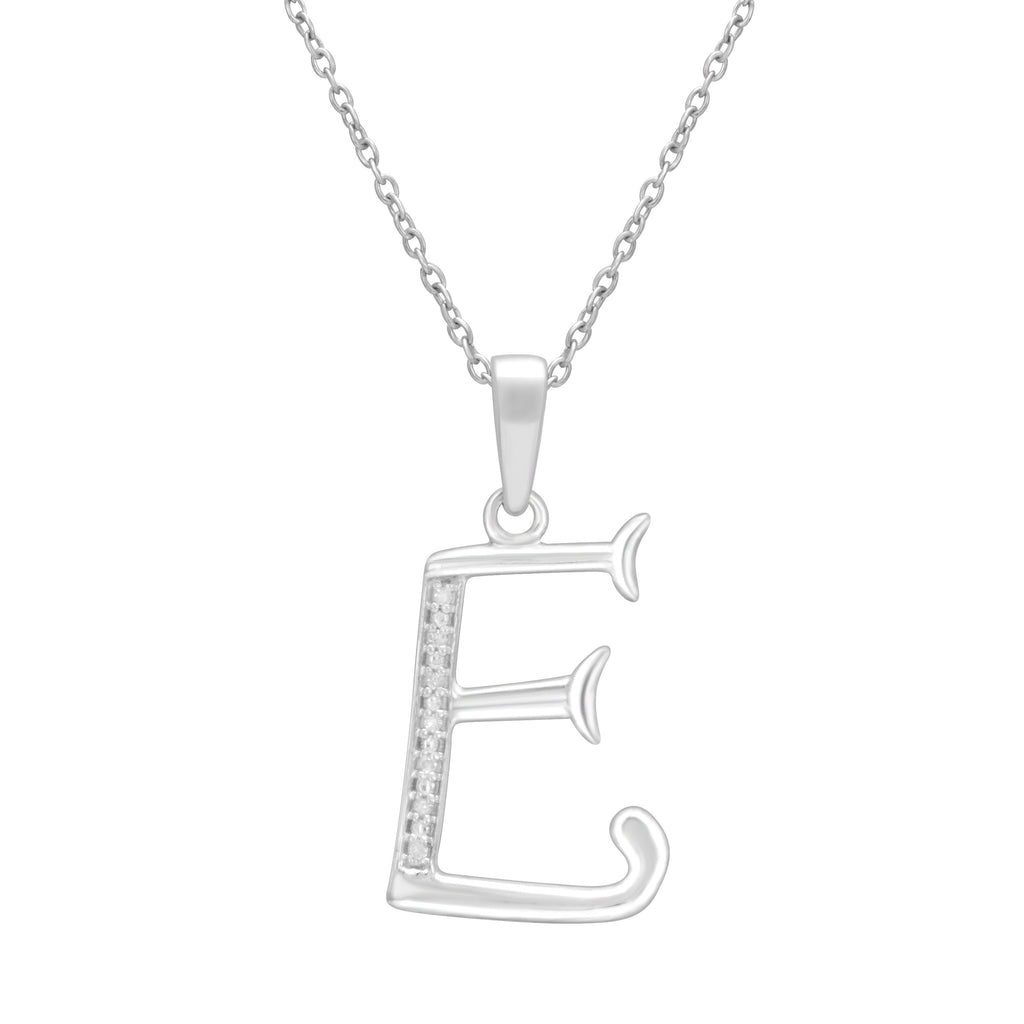 Sterling Silver Diamond Set Initial Necklace Necklaces Bevilles E