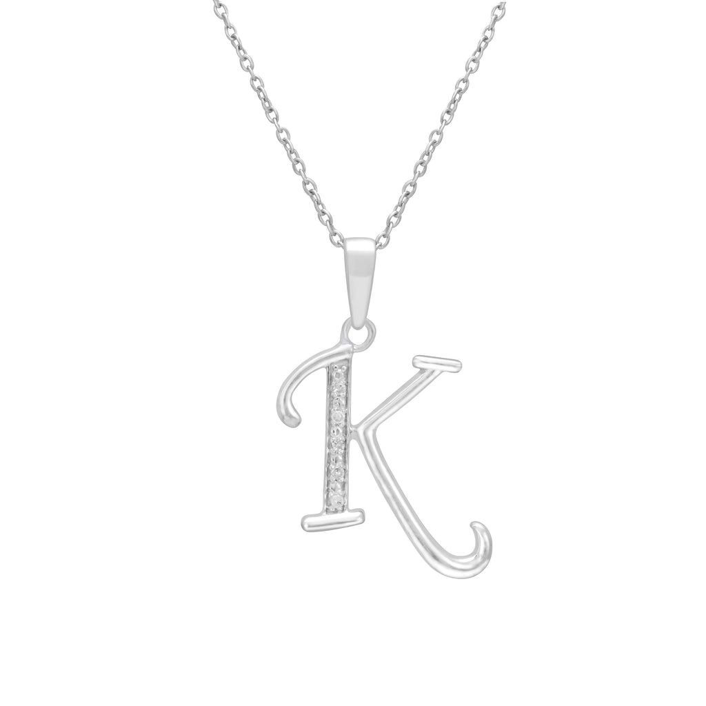 Sterling Silver Diamond Set Initial Necklace Necklaces Bevilles K