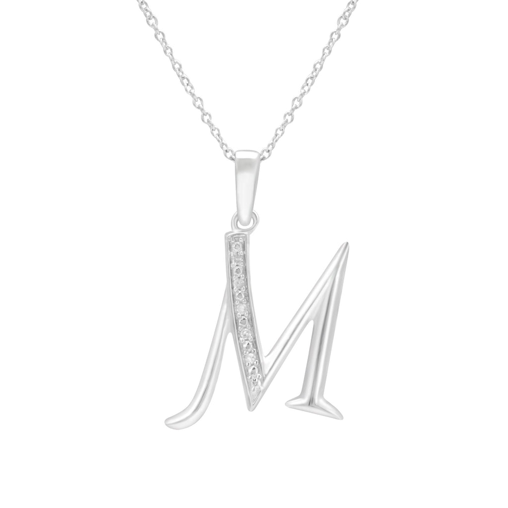Sterling Silver Diamond Set Initial Necklace Necklaces Bevilles M