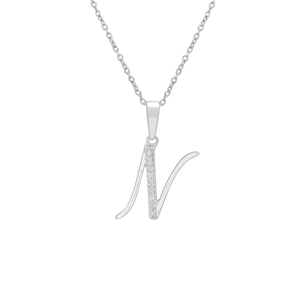 Sterling Silver Diamond Set Initial Necklace Necklaces Bevilles N