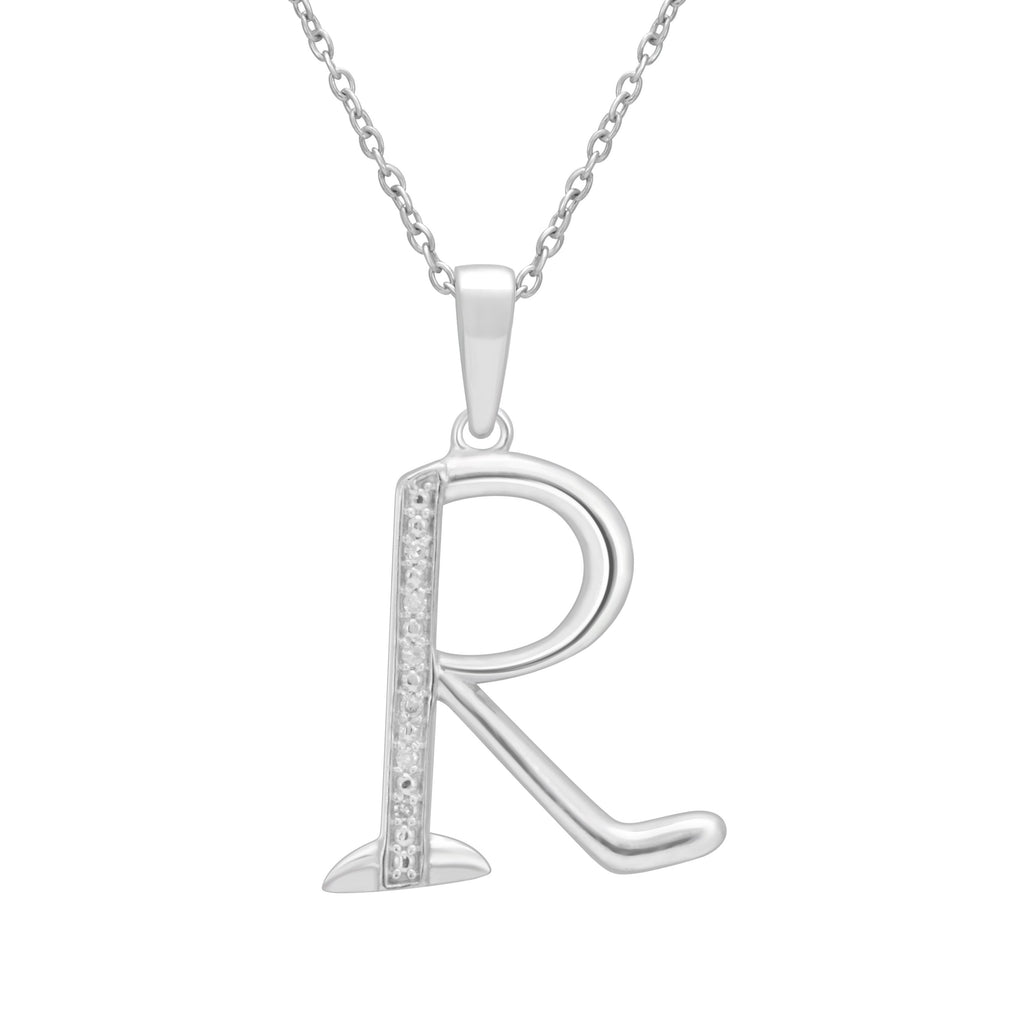 Sterling Silver Diamond Set Initial Necklace Necklaces Bevilles R