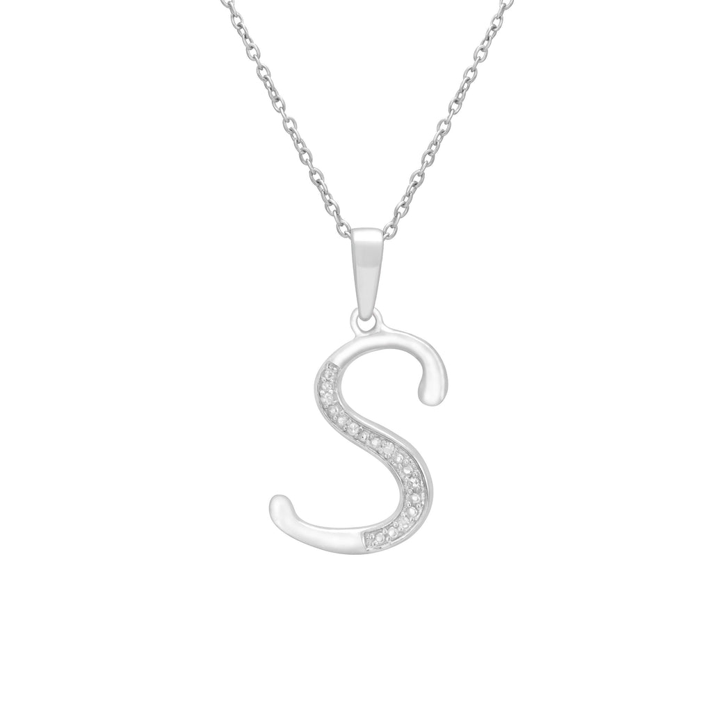 Sterling Silver Diamond Set Initial Necklace Necklaces Bevilles S