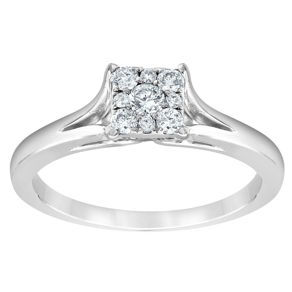 Sqaure Spilt Shoulder Ring with 1/5ct Diamonds in 10ct White Gold Rings Bevilles