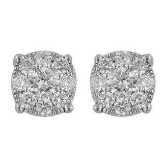 0.30ct Cluster Solitaire Diamond Stud Earrings in 10ct White Gold Earrings Bevilles