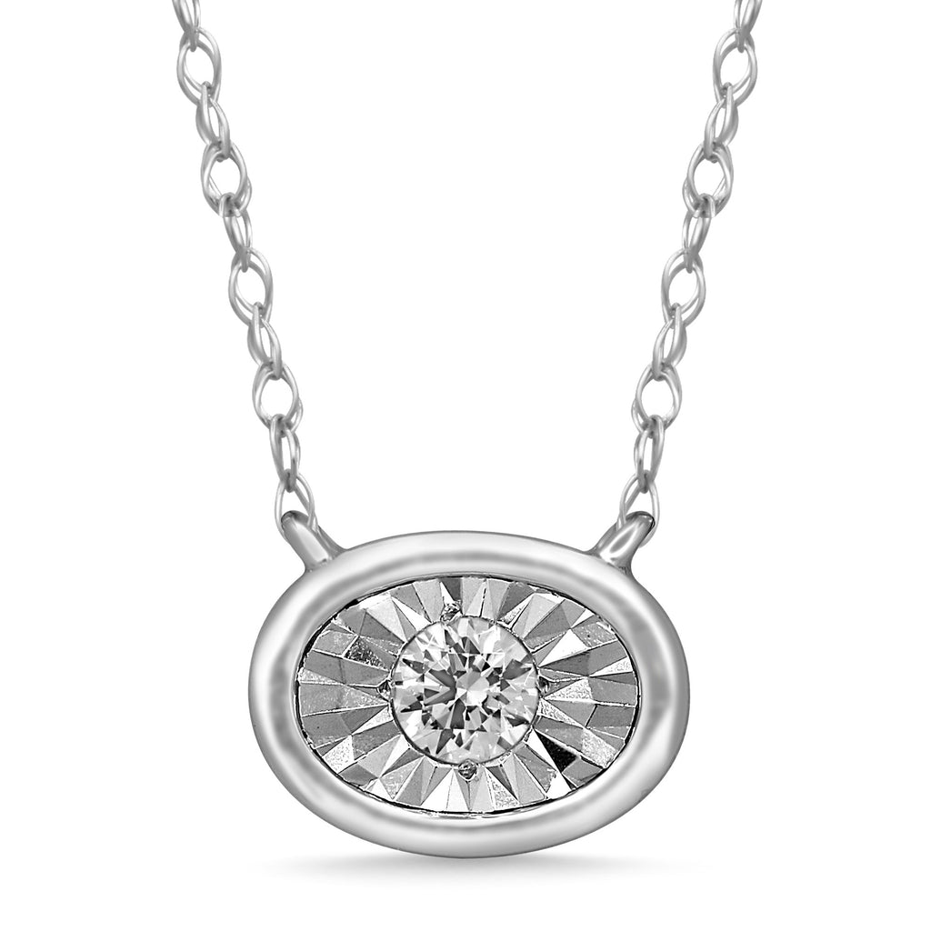 Diamond Set Miracle Halo Necklace in Sterling Silver Necklaces Bevilles