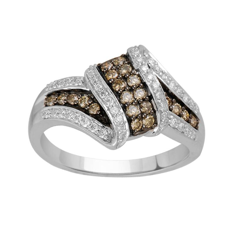 Dress Ring with 0.45ct of Cognac and White Diamonds in 10ct White Gold Rings Bevilles