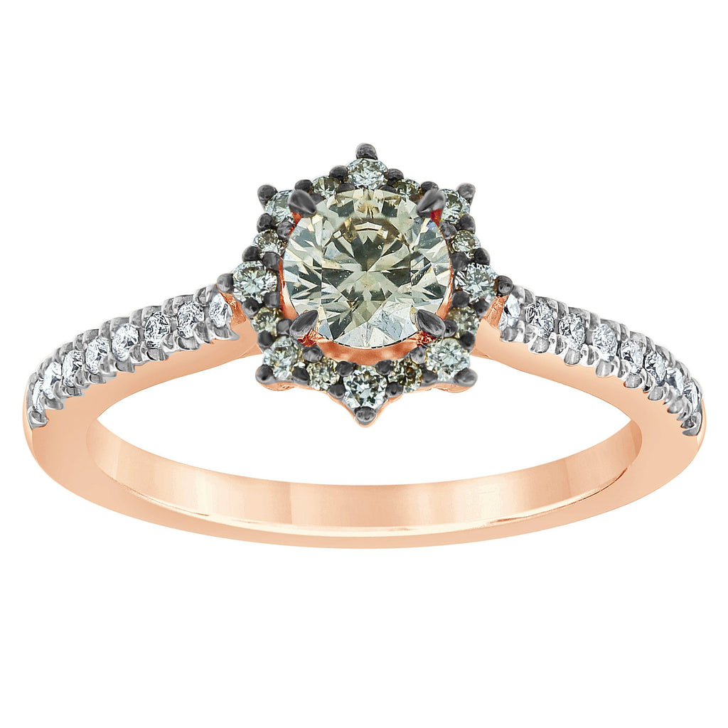 Web Look Ring with 0.70ct of Cognac & White Diamonds in 14ct Rose Gold Rings Bevilles