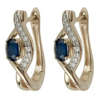 Oval Sapphire Earrings with 0.05ct of Diamonds in 14ct Yellow Gold Earrings Bevilles