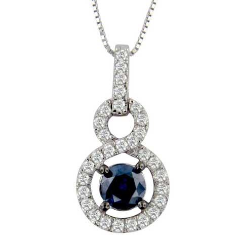 Tanzanite Infinity Necklace with 0.15ct of Diamonds in 14ct White Gold Necklace Bevilles
