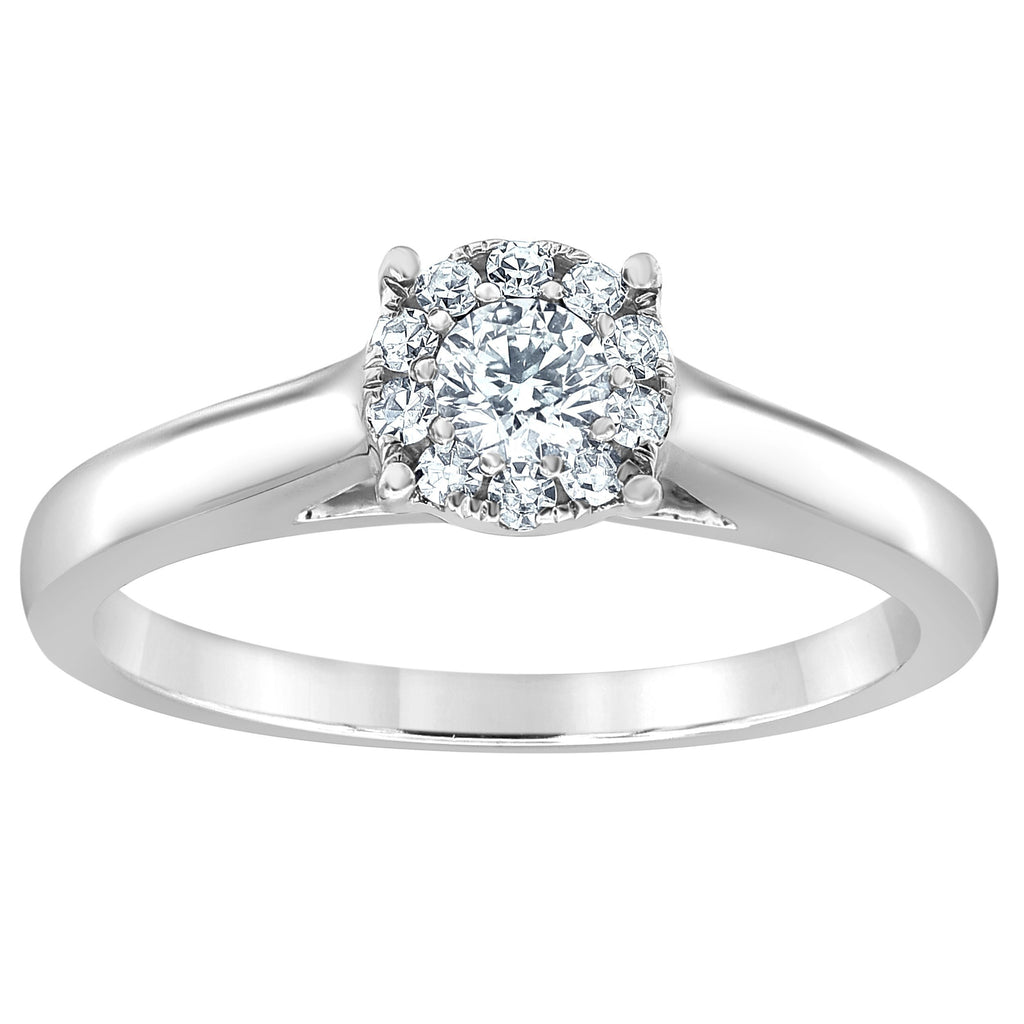 Solitaire Look Ring with 0.30ct of Diamonds in 14ct White Gold Rings Bevilles