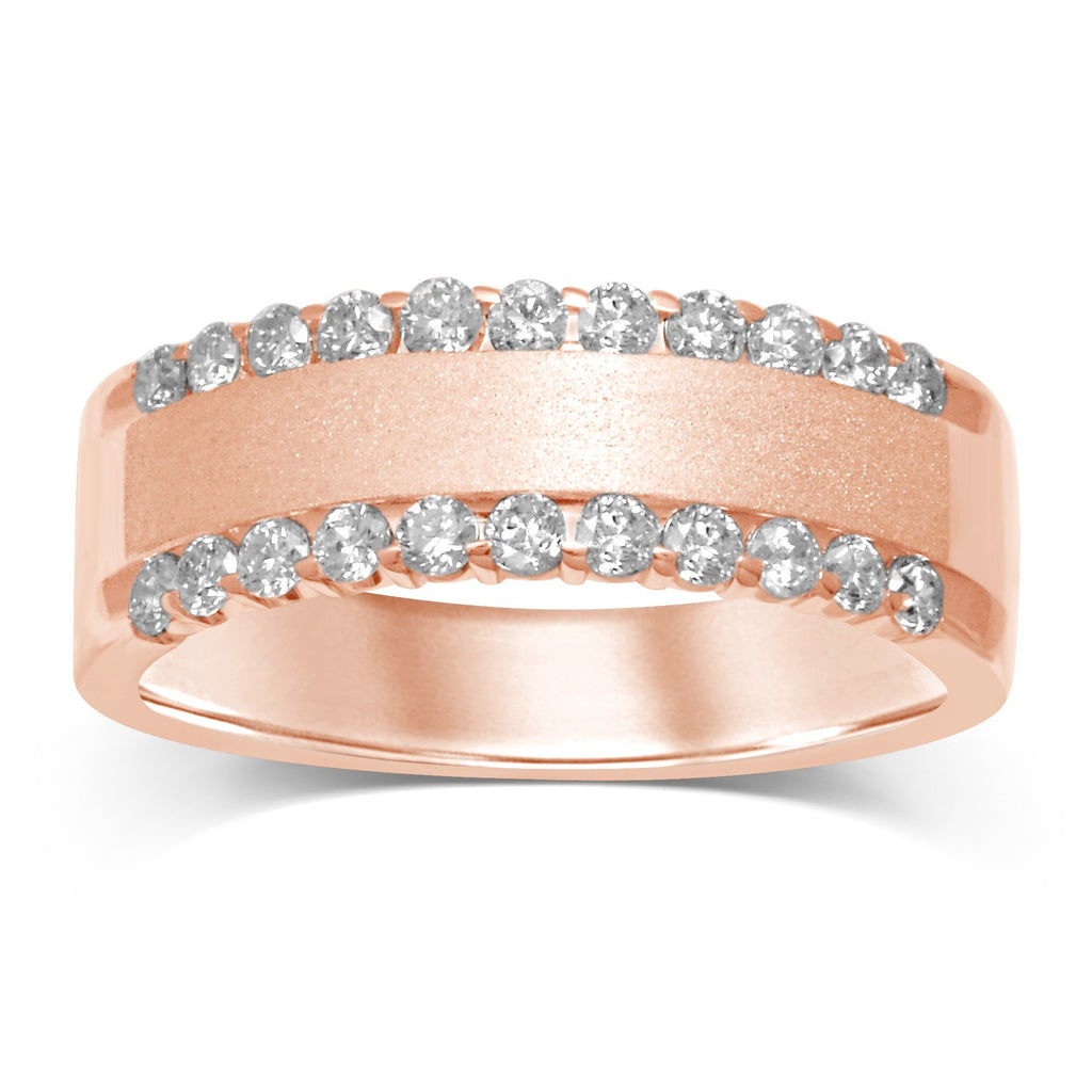 2 Row Eternity Ring with 0.45ct of Diamonds in 14ct Rose Gold Rings Bevilles