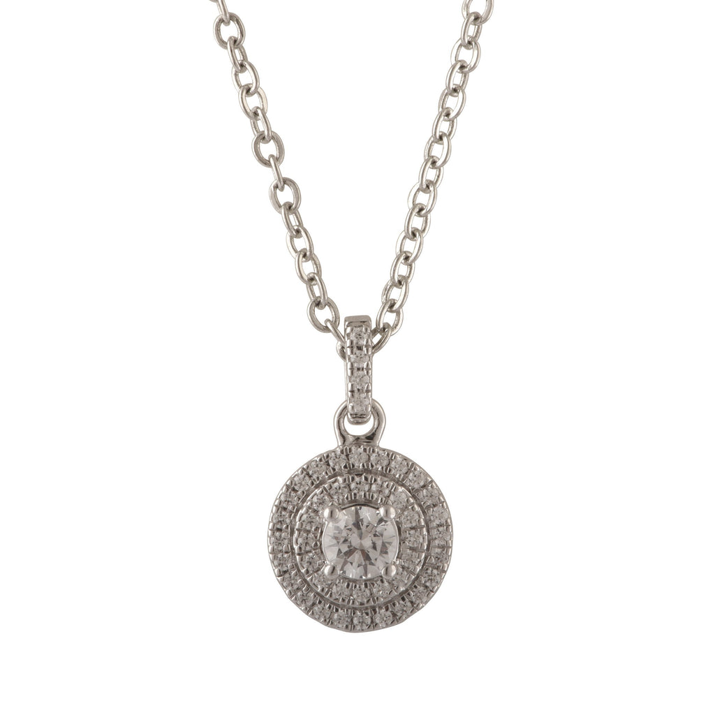 Double Halo Necklace with 0.35ct of Diamonds in 14ct White Gold Necklace Bevilles