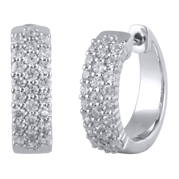 Hoop Earrings with 0.95ct of Diamonds in 14ct White Gold Earrings Bevilles
